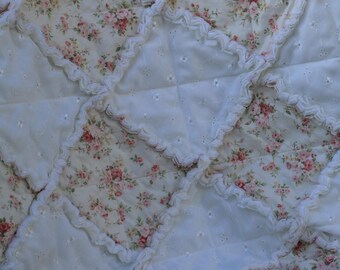 Shabby Chic French Country Rag Quilt FREE SHIPPING