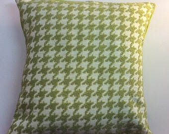 beautiful chartreuse green and white hounds tooth raised velvet pillow cover green velveteen back 18x18