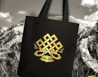 Tibet Endless Knot Tote Bag, Handmade and Unique