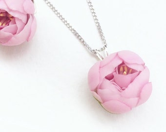 Pink peony pendant Floral Jewelry  Floral Necklace Pink peony Necklace rose quartz wish necklace flower jewelry statement necklace