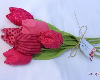 Lovely fabric tulips bouquet for end of term teacher gift, anniversary or summer home decor