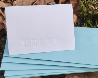 10 THANK YOU CARDS: Letterpress Embossed Thank You Card Set (No Ink) 10 Folded Thank You Notes With Envelopes Wedding Thank You Cards