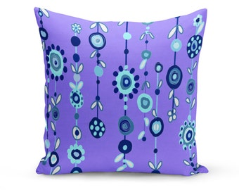 Pillow Cover, Art Pillow Cover, Flower Abstract Pillow Cover, Linen Pillow Cover, Art Throw Pillow, Purple Pillow Cover, Modern Pillow Cover