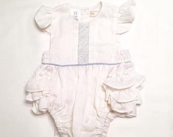 White Baby Girl Romper