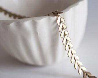 Chevron raw Golden brass - 50 cm chain