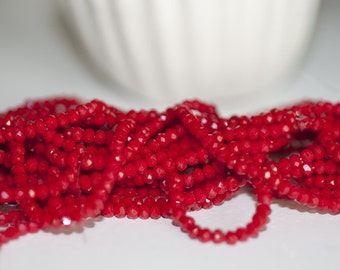 Wire approximately 150 red crystal - faceted beads 3mm