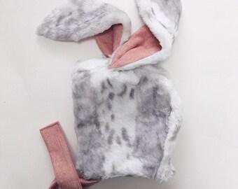 Faux fur bunny hat/bonnet with cotton lining