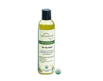 Hair Growth Oil - USDA Organic with Coconut Oil, Olive Oil, Sunflower Oil and More - FREE SHIPPING