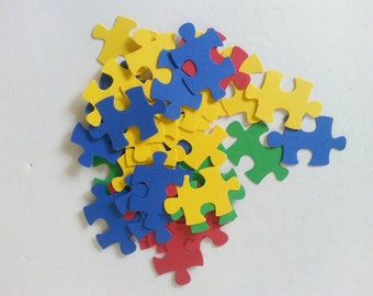 Paper Puzzle Pieces for Cupcakes Toppers. Cards Making and Scrapbook Supplies. Awareness Puzzle Cut Outs. 60 pcs.