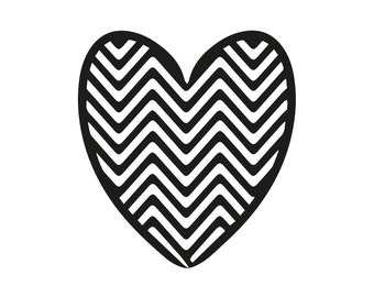 rubber stamp ZIGZAG HEART