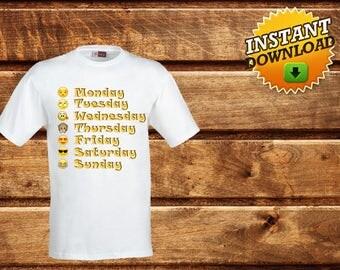 Emoji Iron on Transfer Shirt-Printable Personalized Emoji Birthday Shirt-Weekly Emoji T-Shirt -days of the week emoji shirt- Weekdays Emoji