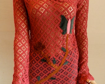Vintage Catch A Fire Crochet cotton Tunic with Bell Sleeves