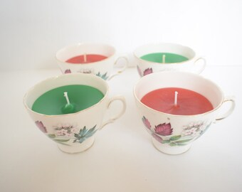 Vanilla or Rose Scented Teacup Candle