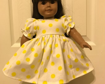 Yellow Dot Dress for American Girl or Other 18 inch Doll
