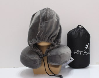Grey JET Setter  Memory Foam Neck Pillow with a hoodie.  Great gift idea for anyone who love to travel