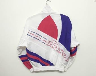 Sale!! Sale!! Vintage Ellesse Tennis Jacket Multicolour Big Logo Spell Out Rare