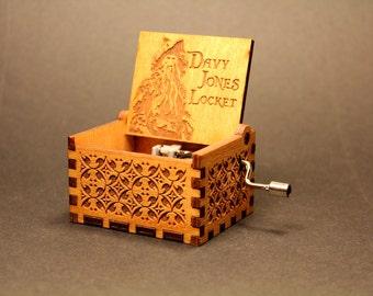 Engraved Wooden Music Box - Davy Jones Locket