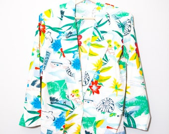 RARE Vintage 1980's Pop Art Hawaiian Beach Sea Novelty Print Sportscoat | Size Small