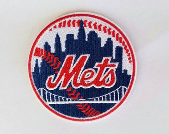 New York Mets iron on inspired patch, New York Mets embroidery patch inspired