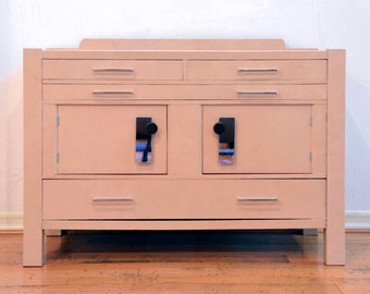 Leather-wrapped Vintage Mission Style Buffet in Beige