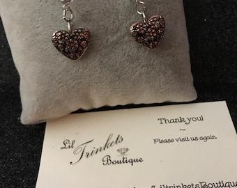 heart antiqued drop stud earrings bling embellishments