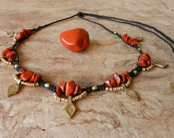 Red Jasper Necklace Tribal
