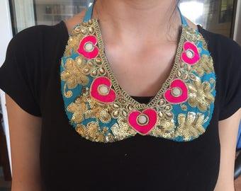 Handmade Embroidered , sequinned flower heart detachable peter pan collar