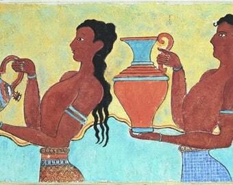 Minoan frescoes laptops, Greek minoan frescoes.