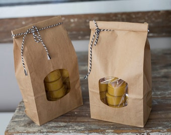 50 beeswax tealights in clear cups