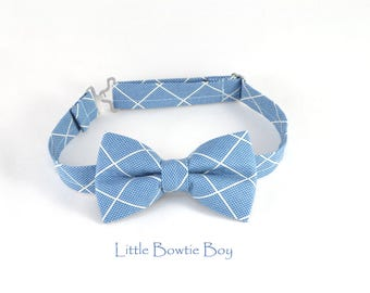Blue Diamond bow tie for boys, adjustable blue bow tie, Blue bow tie with square pattern, toddler boy bow ties, plaid cotton baby bow tie