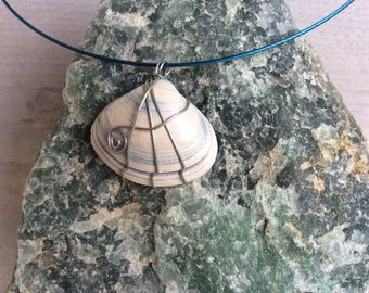 Shell wrapped with zinc wire to a blue hook