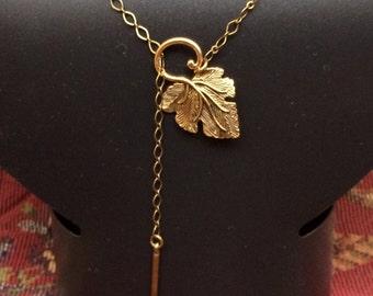 Golden Leaf Dangley Necklace #102