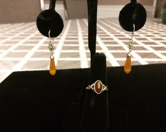 Vintage Silver and Amber Jewelry Set