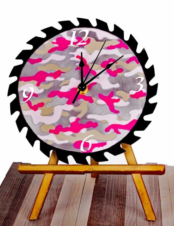 Victoria's Secret Pink Textured Camo Saw Blade Wall Clock