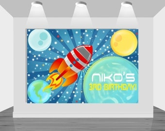 PRINTABLE backdrop|| Outer Space|| Customizable|| Boy/Girl