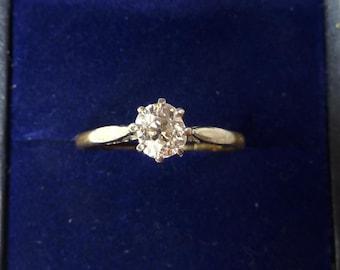 18ct 18k gold and platinum edwardian 0.65ct diamond solitaire engagement vintage antique ring