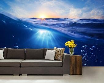 ocean wave wallpaper, sea wave wall mural, underwater wall mural, water wall mural, sun wallpaper, sea wallpaper, wave wall decal, sea wave