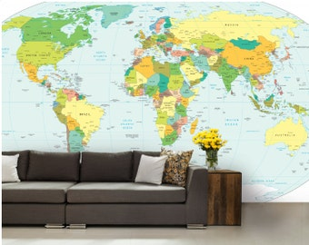 world map wall mural, vinly wall mural , Wallpaper world map, map wall decal, self-adhesive vinly, world map wall mural, abstract wall mural
