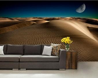 desert WALL MURAL, wall mural, palms wallpaper, mural, desert night wall mural, wall decal, wall decal, modern wall paper, desert wall decal