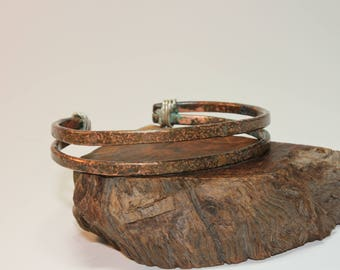Copper Cuff / Copper Bracelet / Double Band / Sterling Silver Wrap