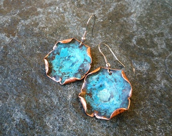 Verdigris earrings, Rustic jewelry, Copper jewelry, Hammered copper, Boho jewelry, Blue patina earrings, Turquoise color earrings