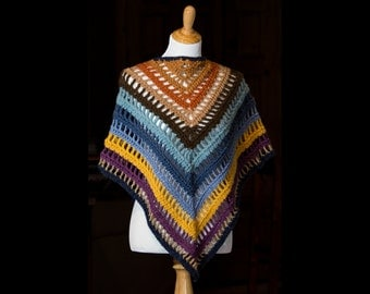 Women's Crocheted Triangle Shawl | Crochet Scarf | Multicolor Triangle Crochet Wrap