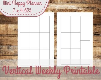 Vertical Weekly Layout Mini Happy Planner Size Insert,  Mini Happy Planner Inserts - INSTANT DOWNLOAD