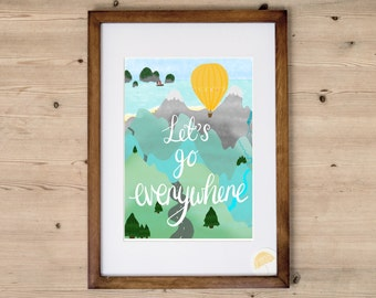 Hot Air Balloon Print | Travel Print | Nursery Wall Art | Mustard Yellow | Let's Go Everywhere | Paper Anniversary | Yellow Nursery |