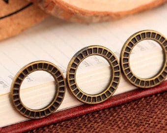 6 Pieces - 18.6*18.6mm antique bronze  circle charms rings F6