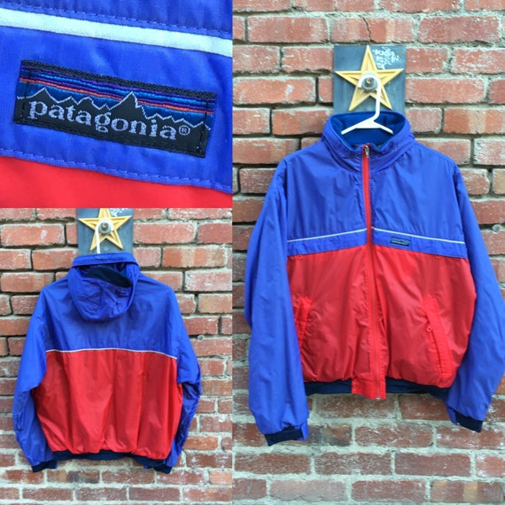 UPDATED Rare Vintage Patagonia Big Label Rip Stop Sailing Jacket / 1992 Purple and Red Women's Warm Snow Jacket Medium