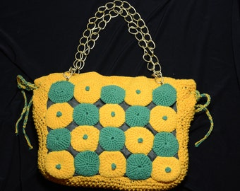 Green and yellow purse, handmade bag, knitted purse, stylish, daily purse