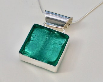 Murano Glass Square Pendant, Sea Green Pendant, Sterling Silver Square Pendant, Murano Glass Necklace, Handmade Glass pendant