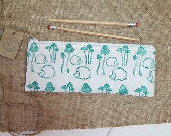 Woodland Prickles Print Pencil Case, Hedgehog Pencil Case, Toadstool Pencil Case, Fabric Pencil Case