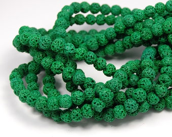 """Two 15"""" strands Lava Rock Beads Spring Green 6mm, Two 15"""" strands"""